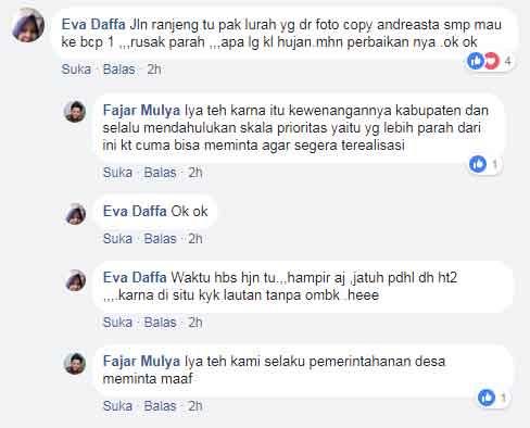 Di Satus FB Kades Ranjeng Netizen Keluhkan Jalan Rusak